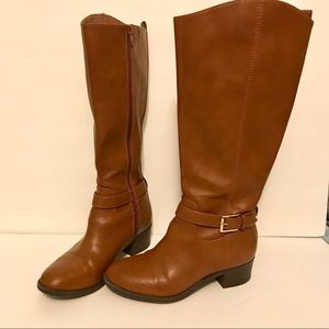 Old Navy Tall Cognac Side Buckle Riding Boots